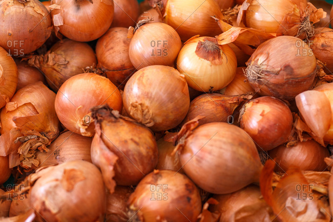 High angle of heap of ripe onions placed in plastic container in rustic grocery market