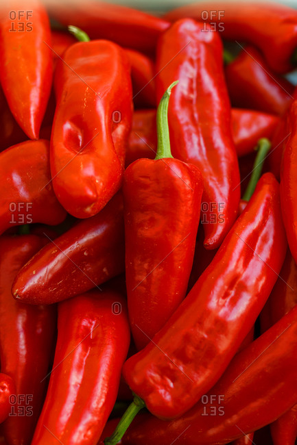 Top view of fresh red chili peppers placed on stall in local grocery market