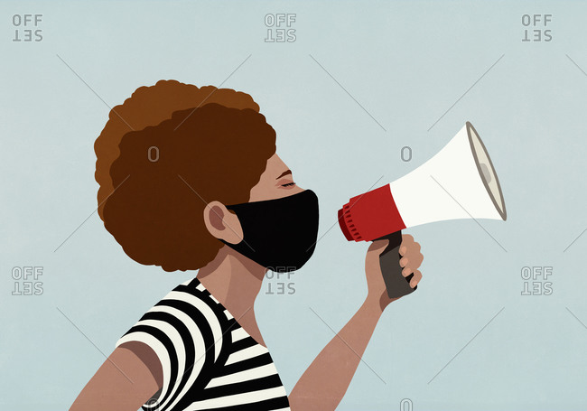 Black woman in face mask using megaphone
