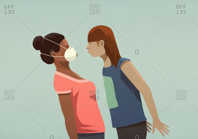 Aggressive woman confronting woman in face mask