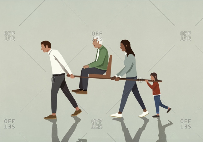 Family carrying grandfather on litter seat