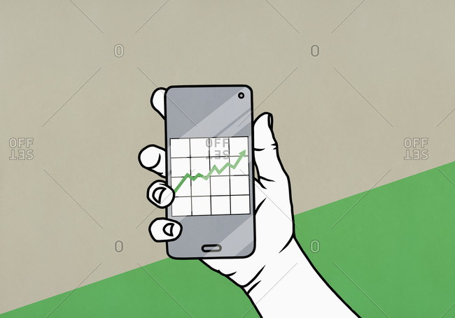 POV Hand holding smart phone with data graph