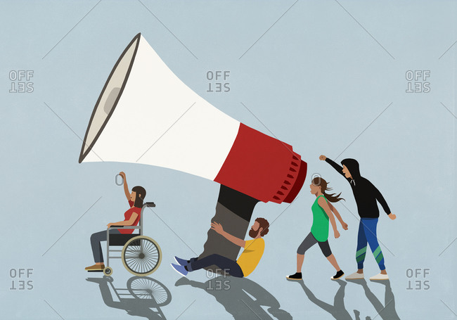 Protesters with large megaphone