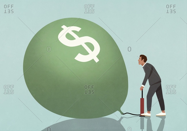 Businessman inflating dollar sign balloon with tire pump