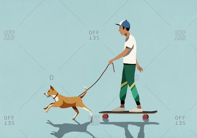 Dog on leash pulling boy riding skateboard