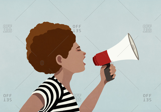 Black woman using megaphone at Black Lives Matter protest