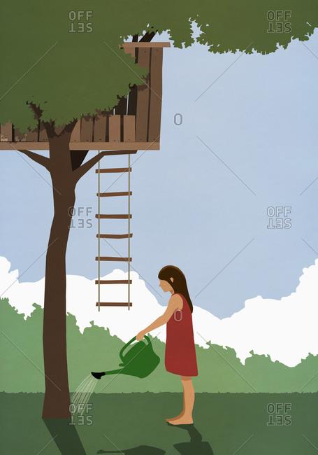 Girl watering tree below tree house