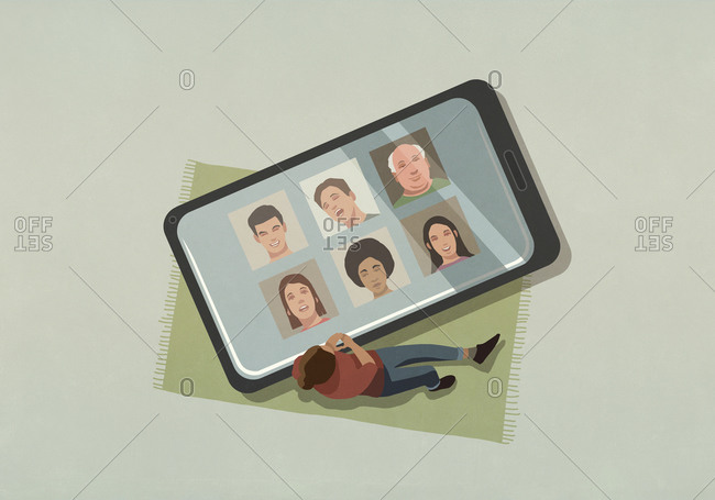 Woman video chatting with friends on large smart phone screen