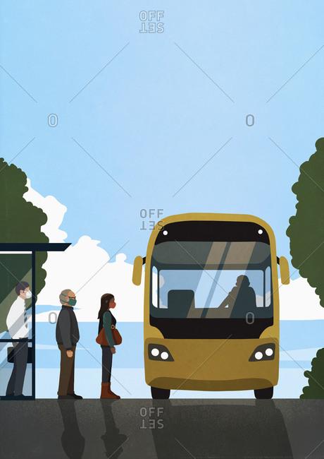 Business people in face masks boarding public bus