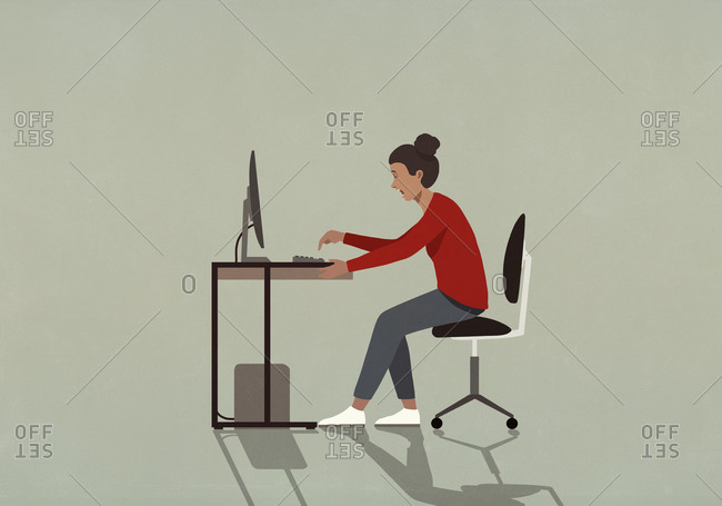 Businesswoman working at a computer