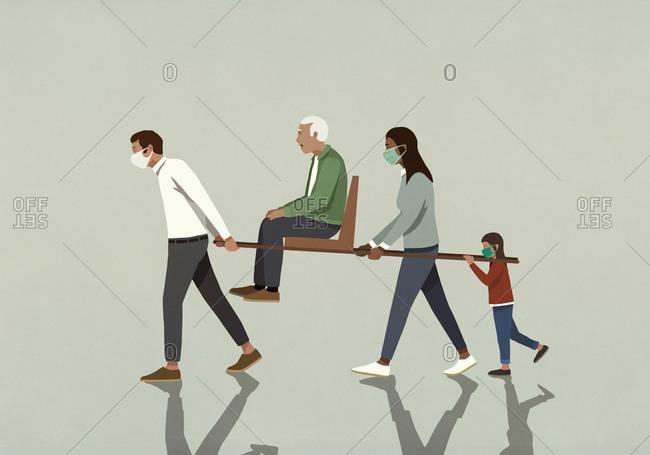 Family in face masks carrying senior man on litter chair