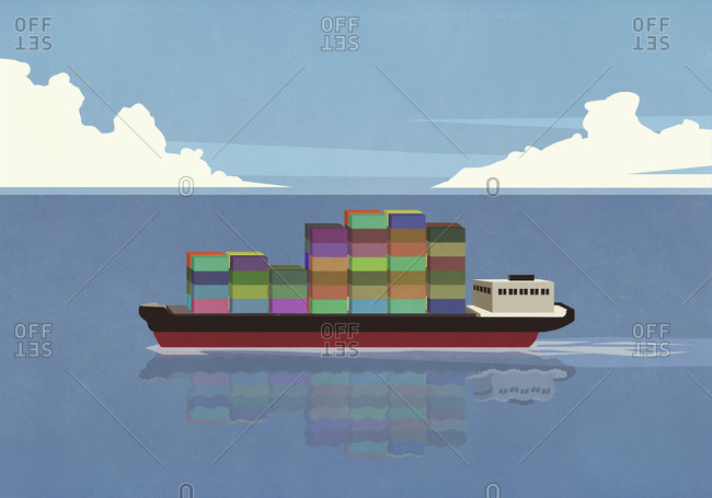 Container ship on sunny ocean