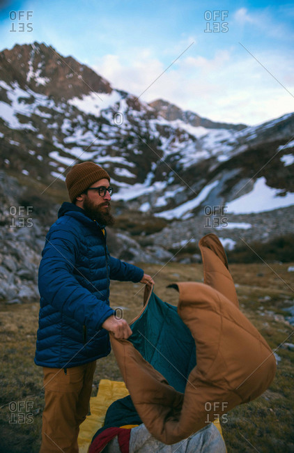 Hiker setting up camp, Mineral King, California, United States