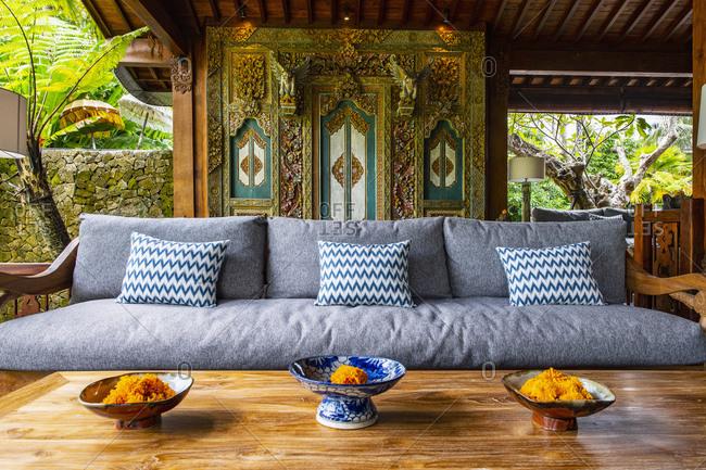 Sofa at reception of resort, Ubud, Bali, Indonesia