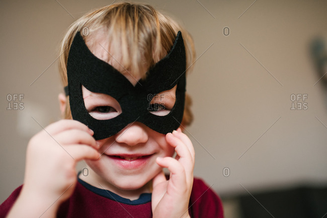 Boy in costume mask