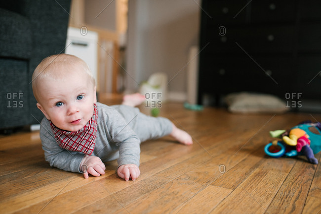 Baby boy crawling on wooden floor