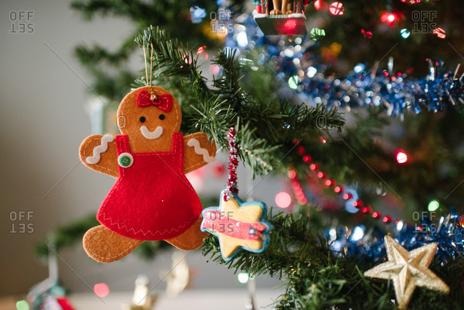 Gingerbread girl Christmas decoration on tree