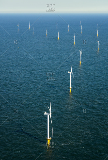 Offshore wind farm in the Borselle wind field, aerial view, Domburg, Zeeland, Netherlands