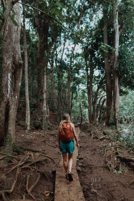Woman enjoying walk in rainforest, Princeville, Hawaii, US