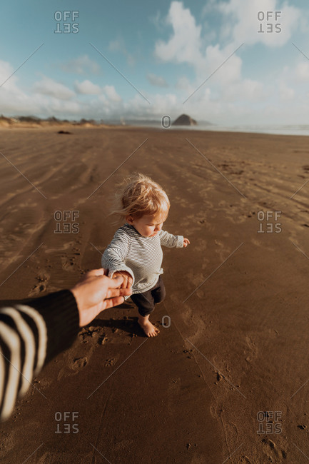 Parent and toddler walking on beach, Morro Bay, California, United States