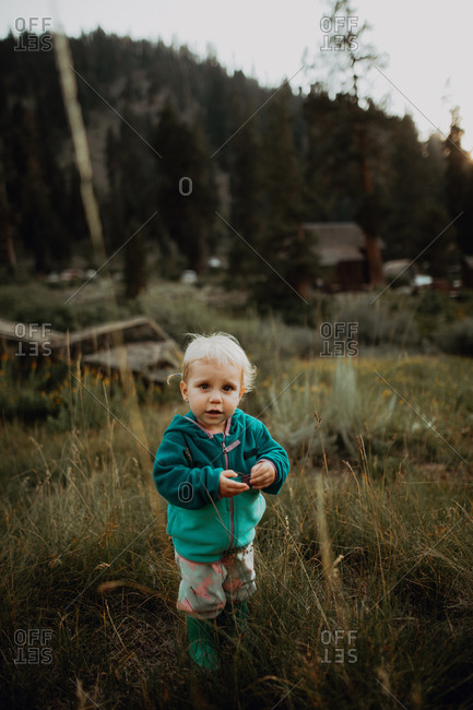 Female toddler amongst long grass in rural valley, portrait, Mineral King, California, USA