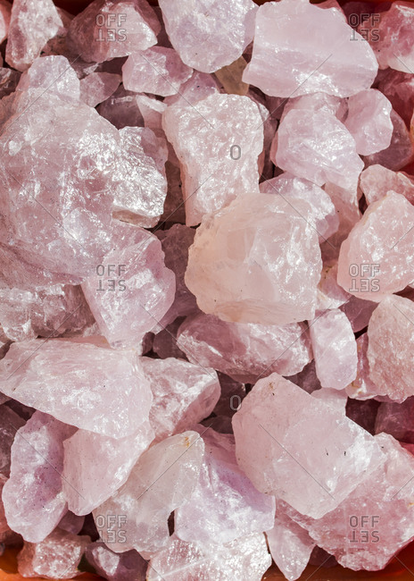 Rough rose quartz crystal rocks