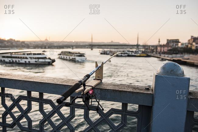 Fishing rod, Galata Bridge, Karakoy, Turkey