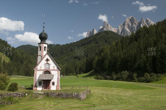 St. Johann Church, Funes Valley (Villnoss), Dolomites, Trentino Alto Adige, South Tyrol, Italy