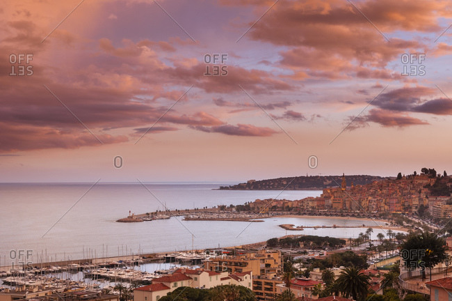 Sunrise in coastal town of Menton, France