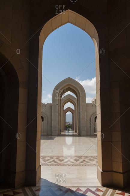 View through arch, Sultan Qaboos Grand Mosque, Muscat, Oman