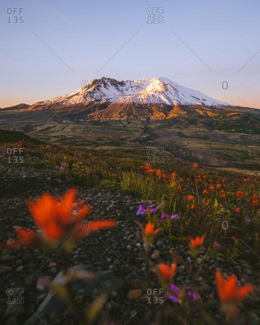 Sunset over Mount St Helens National Monument, Washington, USA