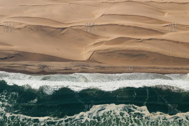 Aerial view of Skeleton Coast, Namib Desert, Namibia