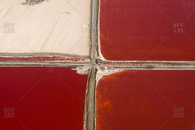 Aerial view of Salt Evaporation Ponds, Walvis Bay, Skeleton Coast, Namib Desert, Namibia