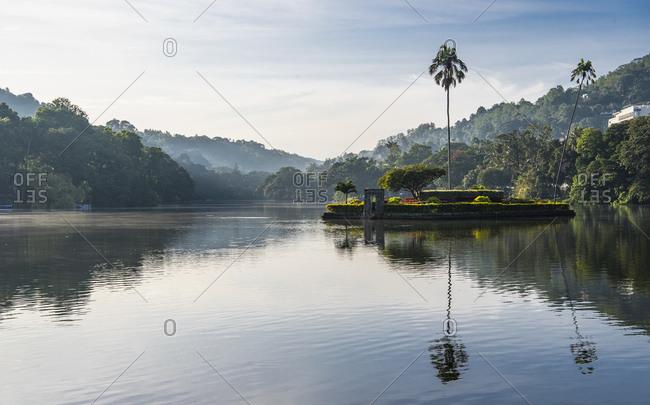 Kandy Lake (Kiri Muhuda or Sea of Milk), artificial lake in heart of hill city, Kandy, Sri Lanka