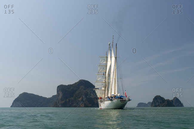 Star Clipper cruise ship sailing in Phang Nga bay, Thailand