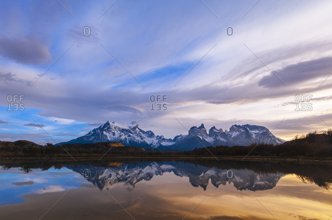 Reflection of alps in lake, Lago Pehoe, Torres del Paine National Park, Patagonia, Chile