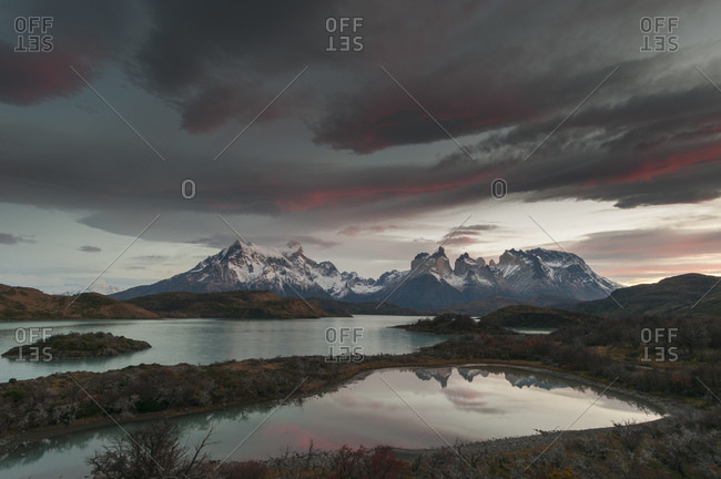 Grey skies, Lago Pehoe, Torres del Paine National Park, Patagonia, Chile