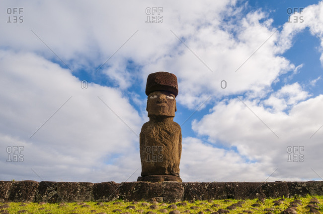 Ahu Ko Te Riku, a giant moai stone statue at the Tahat Archaeological Complex, Rapa Nui, Easter Island, Chile