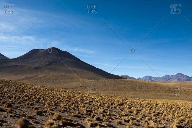 Atacama Desert, Antofagasta Region, the mountain landscape and desert floor.