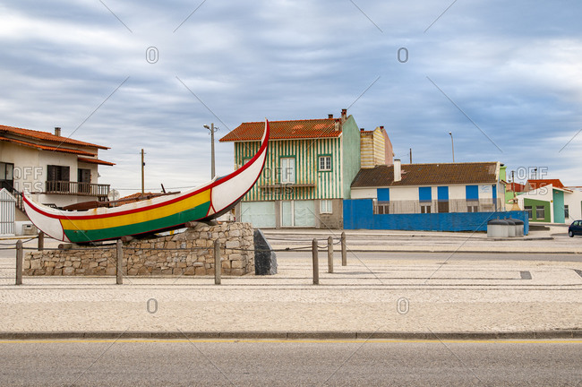 October 16, 2019: Traditional colorful Portuguese fishing boat, Vieira de Leiria, Marinha Grande, Portugal