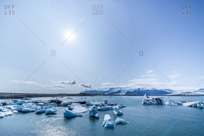 Icebergs floating in glacial lagoon, Iceland
