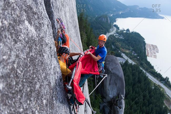 Big wall climbing with portaledge, Squamish, British Columbia, Canada
