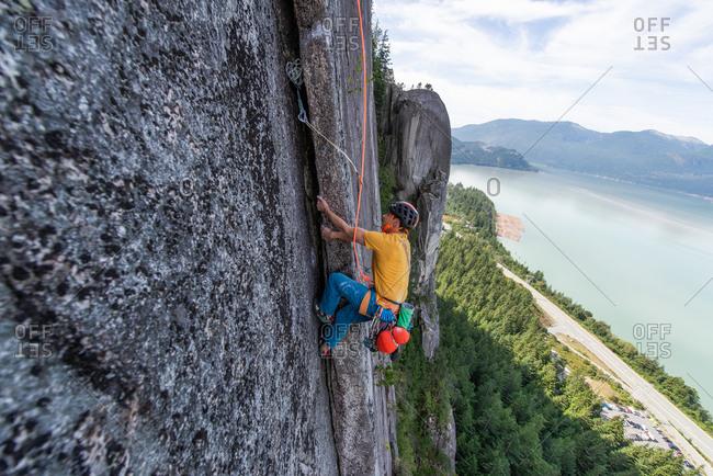 Trad climbing, Stawamus Chief, Squamish, British Columbia, Canada