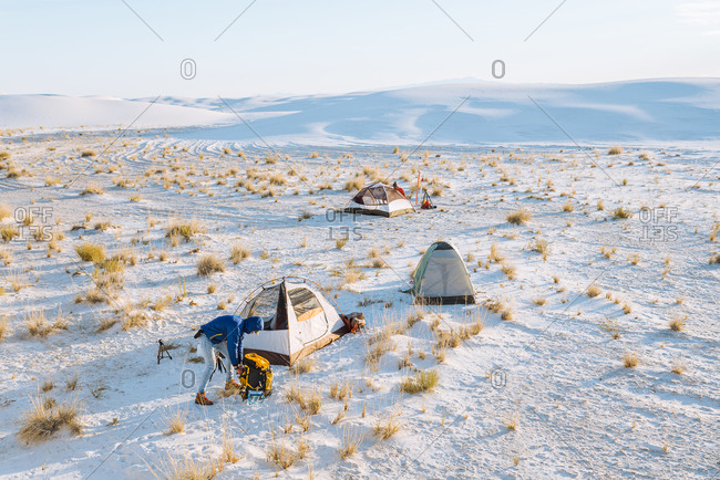 Hikers at camp site, White Sands National Monument, New Mexico, US