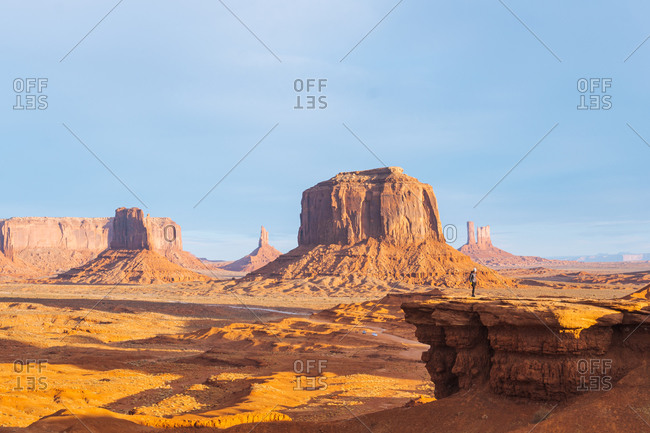 The view across buttes and sandstone formations in Monument Valley.