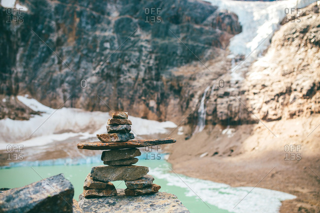 Stone cairns by lake, Jasper, Canada