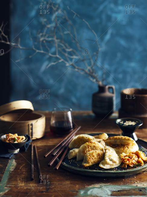 Kimchi mandu (Korean dumplings) on a plate