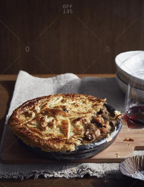 Kangaroo Burgundy pie, a bush tucker dish using indigenous ingredients