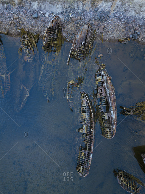 Russia- Murmansk region- Kolsky District- Teriberka- Shipwrecks on Barents Sea coast- aerial view