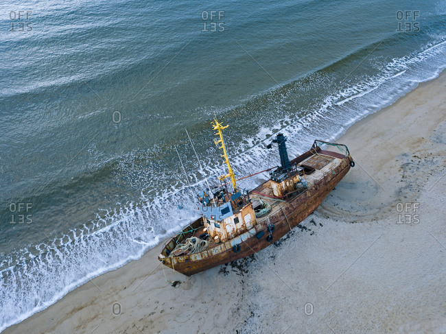 Russia- Murmansk region- Kolsky District- Teriberka- Barents Sea- Shipwreck on beach- aerial view